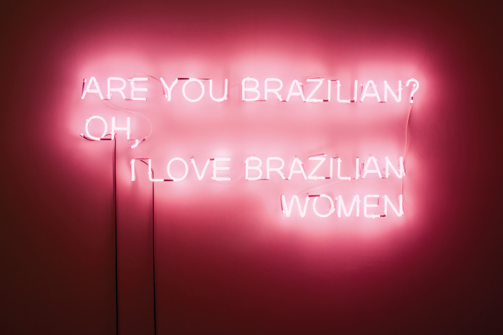 "A neon sign against a pink wall that says ""Are you Brazilian? Oh, I Love Brazilian Women"""