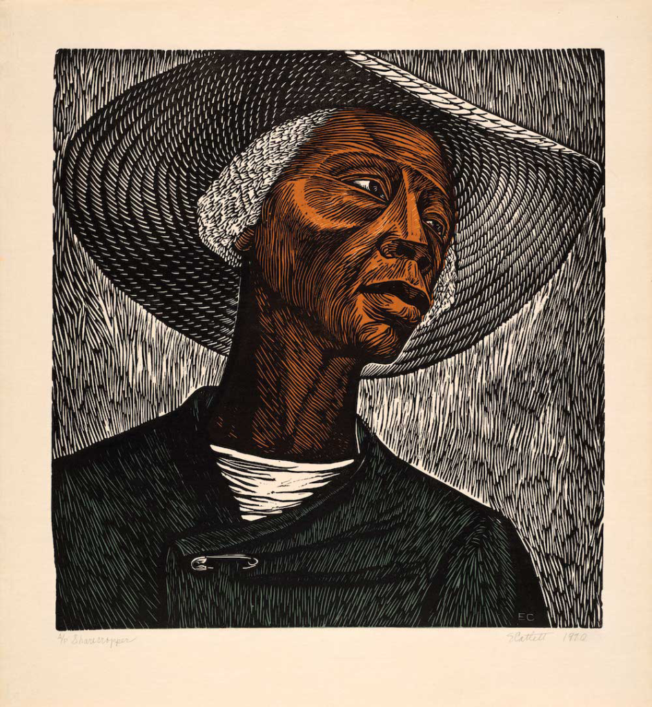 Elizabeth Catlett's Sharecropper, possibly her most famous work, was made in Mexico, where she moved in 1946 to work at the Taller de Gráfica Popular (People's Graphic Arts Workshop). She was influenced by the spirit of activism at the workshop, which inspired her to produce images of the hardships endured by African American women, as well as the accomplishments of figures such as Sojourner Truth and Harriet Tubman. Sharecropper, like many of her other works, shows Catlett's activism on behalf of African American women in the South, who she believed maintained their dignity in the face of great adversity.