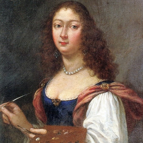 A light-skinned young woman with long curly brown hair is pictured against a dark background from the waist up. She wears a blue dress with large flowy white and pink sleeves, with a pearl necklace and dangling earrings. In her hands, she holds a palette and paintbrush.