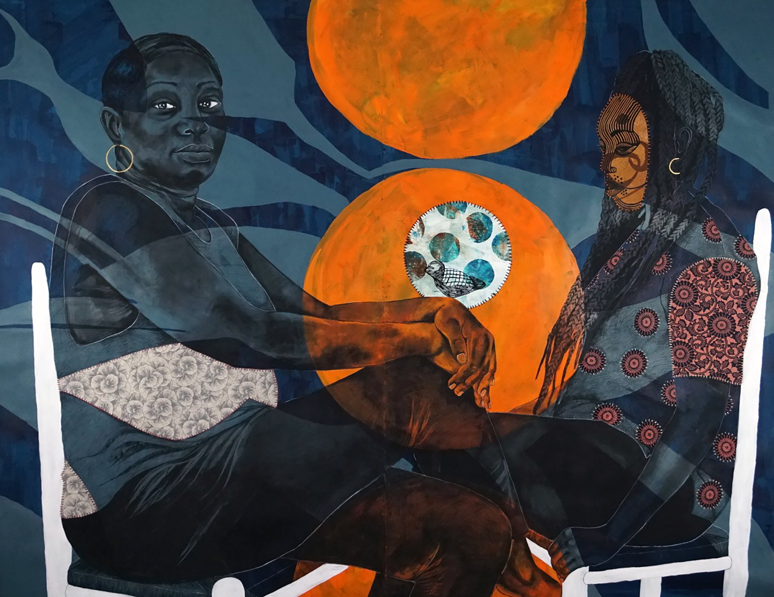 A mixed-media work shows two seated figures facing each other; the first woman sits cross-legged staring confidently out at viewer while the second woman is masked and gazes elsewhere. In the background blue abstract shapes with two orange orbs fill the space between them.