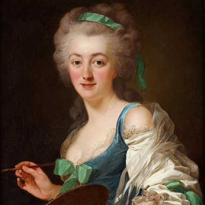 A painting of a light-skinned adult woman holding a paintbrush and palette, smiling as she paints. Her voluminous gray hair is curled and pulled up into a huge style with a green ribbon in it. Matching green ribbons embellish her elegant blue and white dress.