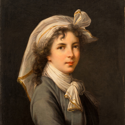 Wearing a white, gold-trimmed head wrap and matching scarf, a light-skinned woman looks at the viewer, shown in a three-quarter pose against a dark backdrop in a portrait painting. Tousled curls of brown hair rest on her forehead and shoulders.
