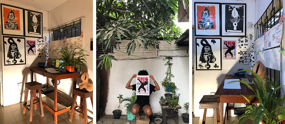 Three photos side by side showing artist Diana Ejaita's studio in Nigeria; it is full of colorful prints and plants.
