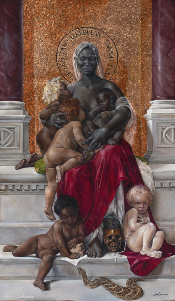 A painting of a dark-skinned woman seated and holding three children, while two others gather at her bare feet. A small stack of nondescript books, a brown skull, a broken string of pearls, and a writhing snake line the steps.