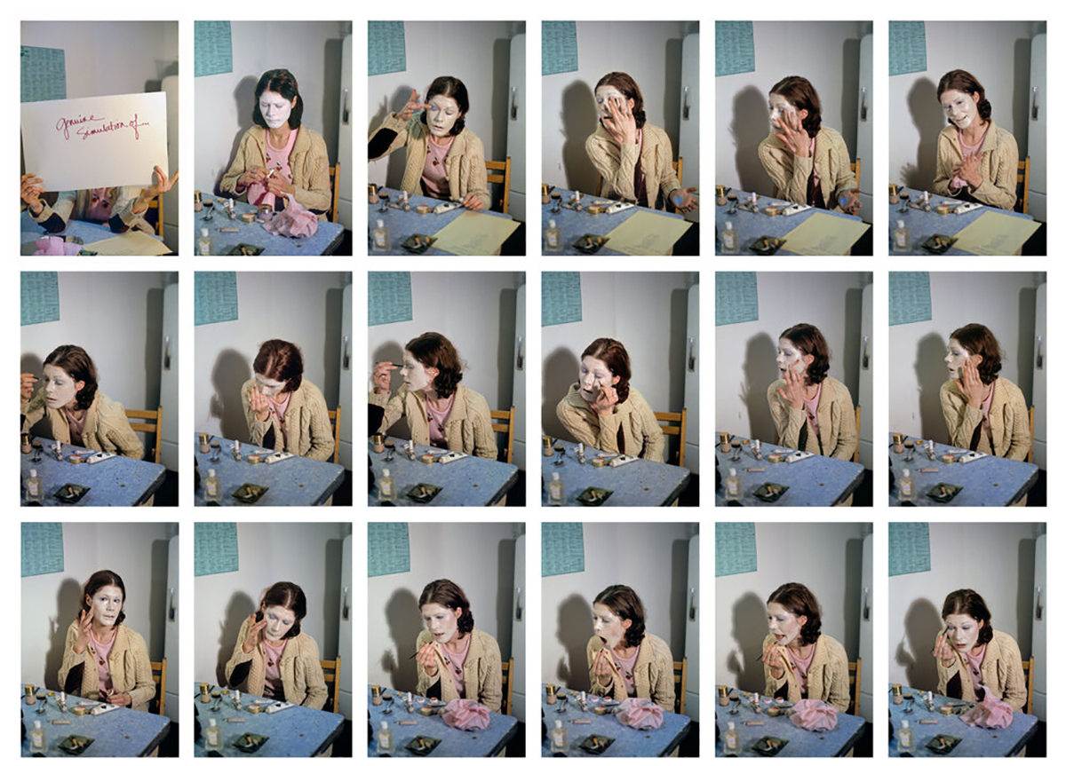 A grid of photos showing artist Suzy Lake with her face painted white putting on makeup and skin cream.