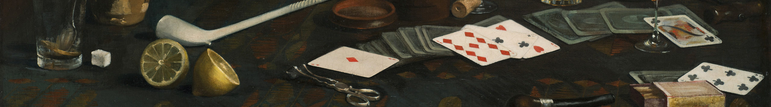 Painting of a blue tablecloth with gold and red pattern. Strewn across the top are half-empty glasses of wine and brown liquid, playing cards, lemon halves and matches. Two pipes, one long and white, one small and dark, lie next to a container of sugar cubes, corks, and bottles.