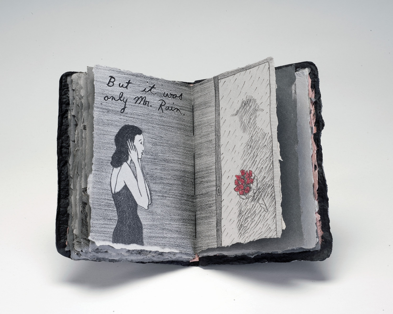 An open book shows a young, light-skinned woman with black hair reacts to a shadowy male figure in her doorway. The figure, comprised of raindrops, offers her a bouquet of bright red roses. Above the woman, the words