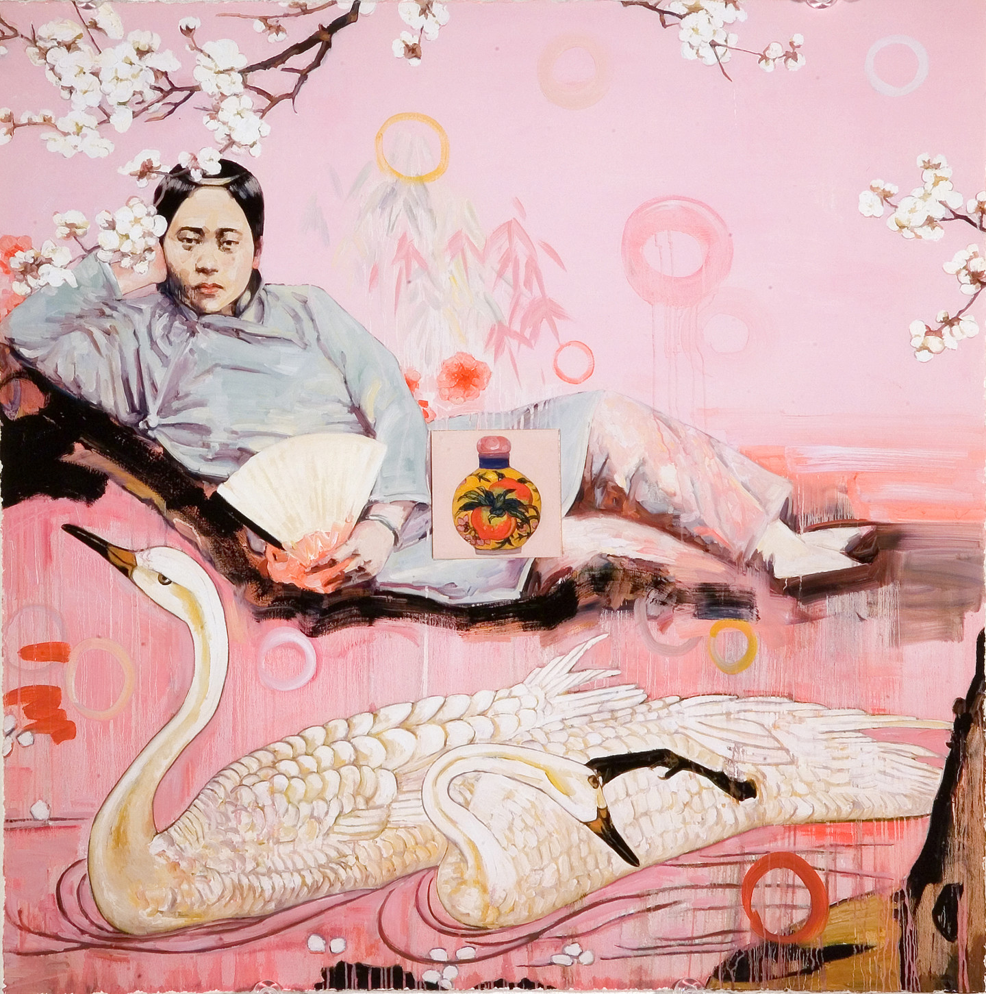 A woman from early 20th century China lounging on her side resting her head on her hand and staring out at the viewer. She appears to be floating against a pale pink background and darker pink foreground with a white swan swimming in front of her.