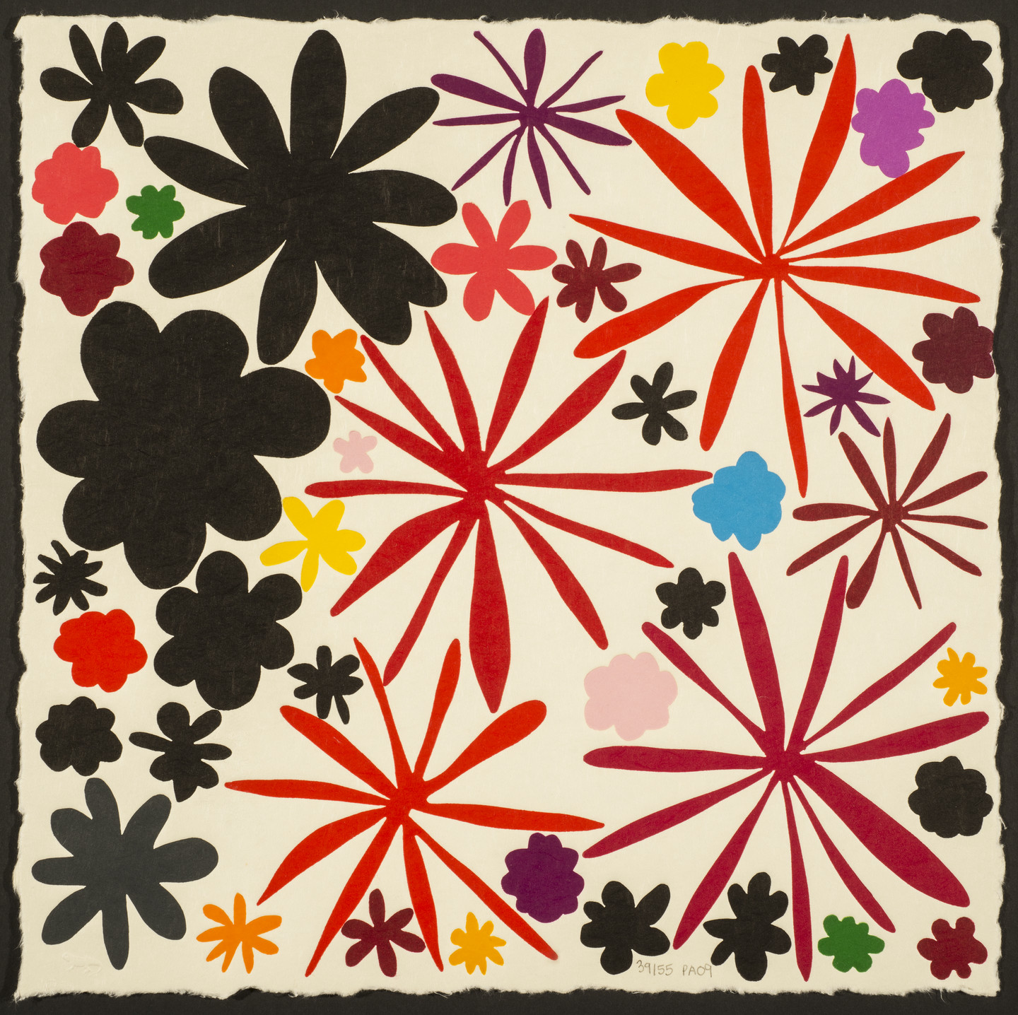 Bright, colorful flowers in multiple shapes and sizes pop against black flowers on one side of the canvas.