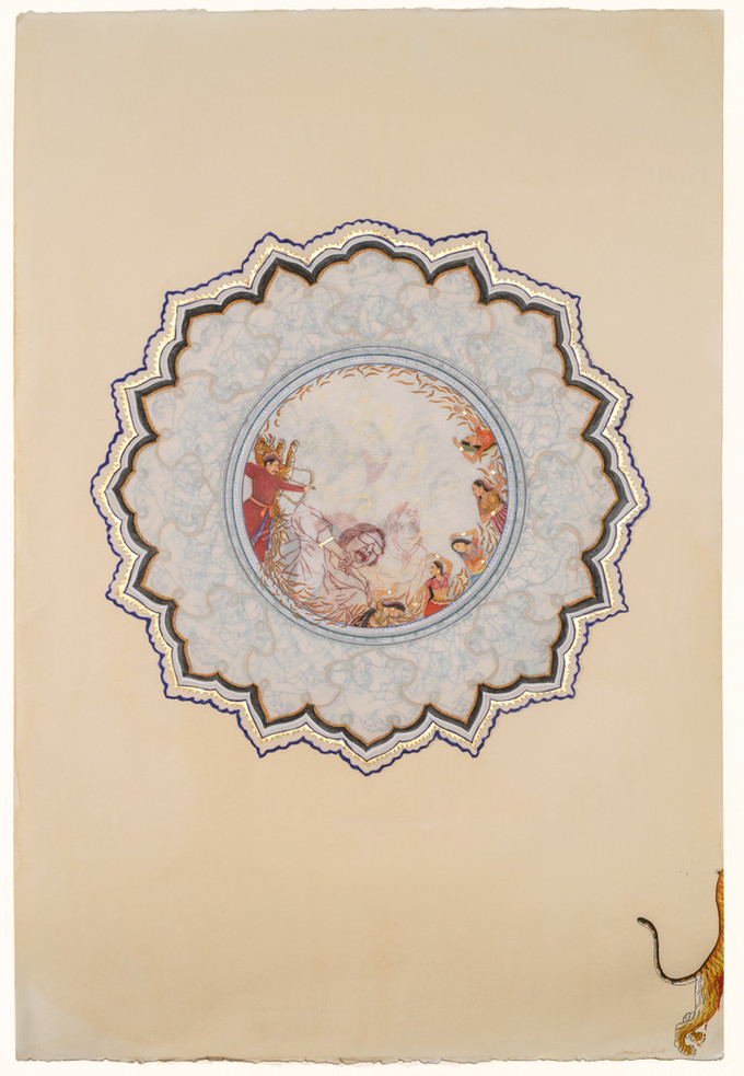Detailed mixed media print with a flower-like shape against a beige background. In the center is a circular scene depicting the outlines of women yelling surrounded by figures from classical Indian painting.