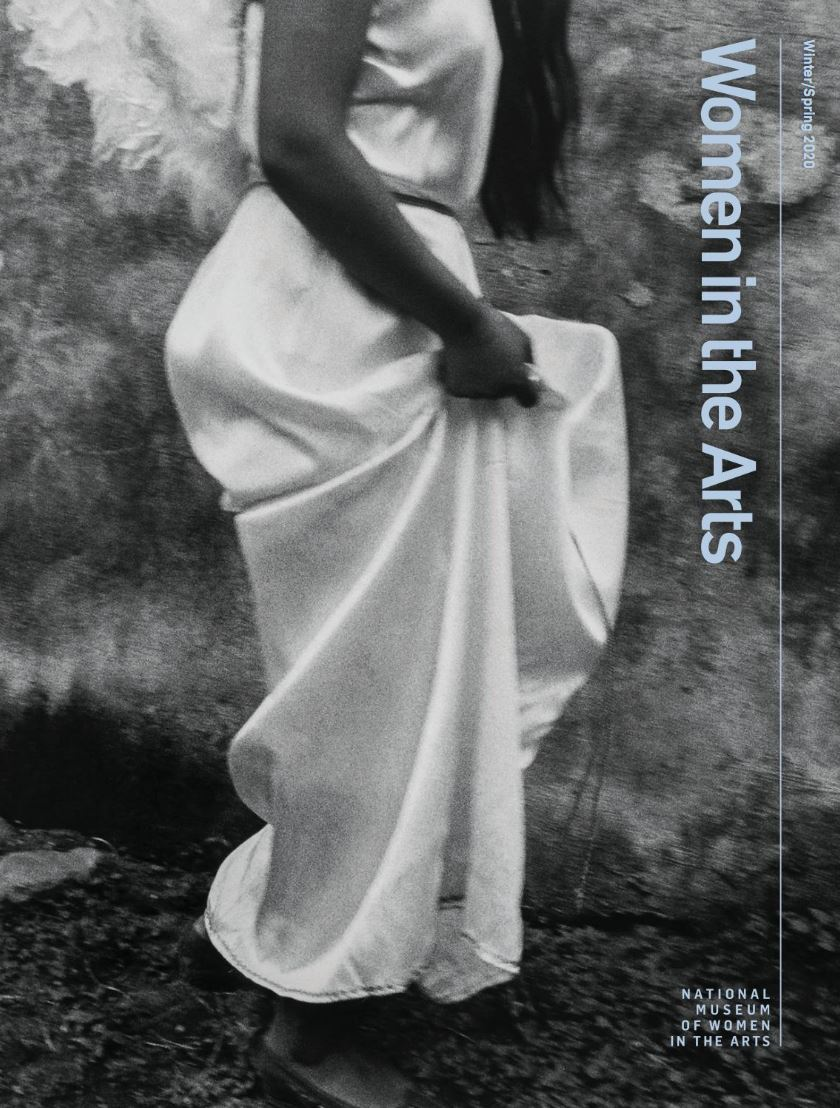 The Winter/Spring cover 2020 image for 'Women in the Arts' magazine shows a black and white photo of a woman from the shoulders down with long hair walking to the viewers right.