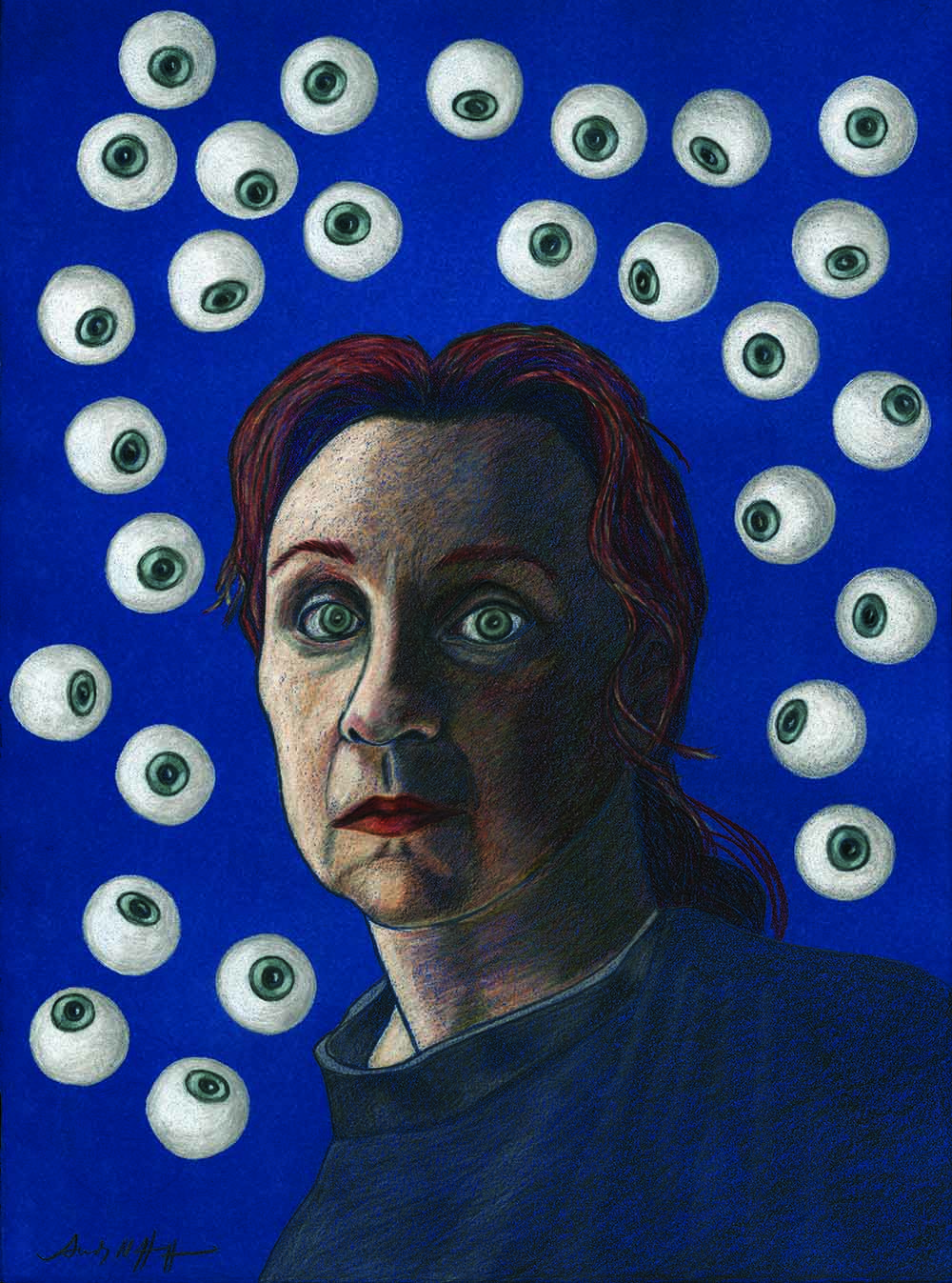 A surreal portrait shows a light-skinned woman with blazing red hair, piercing grey eyes, and red lips. Set against a vibrant blue background, the woman gazes pointedly at the viewer, surrounded by 28 floating eyeballs.