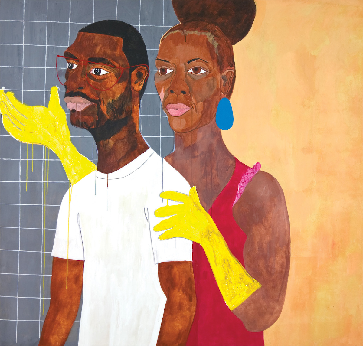 Double portrait in three-quarter pose of a woman with medium-dark skin tone wearing yellow rubber gloves holding the arm of a man in front of her.