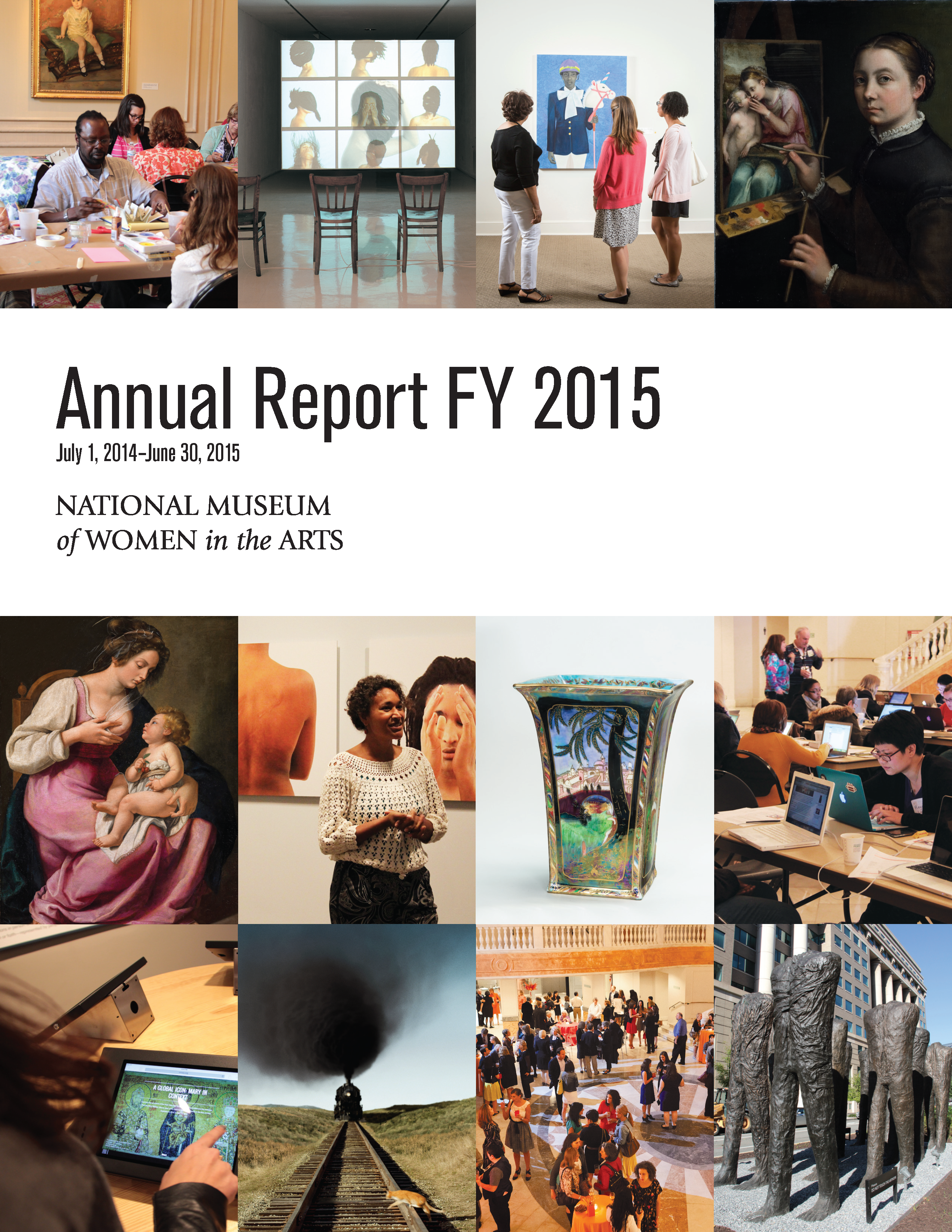 Cover of the 2015 annual report shows 12 tiled images along with the text 'Annual Report FY2015, July 1, 2014–June 30, 2015