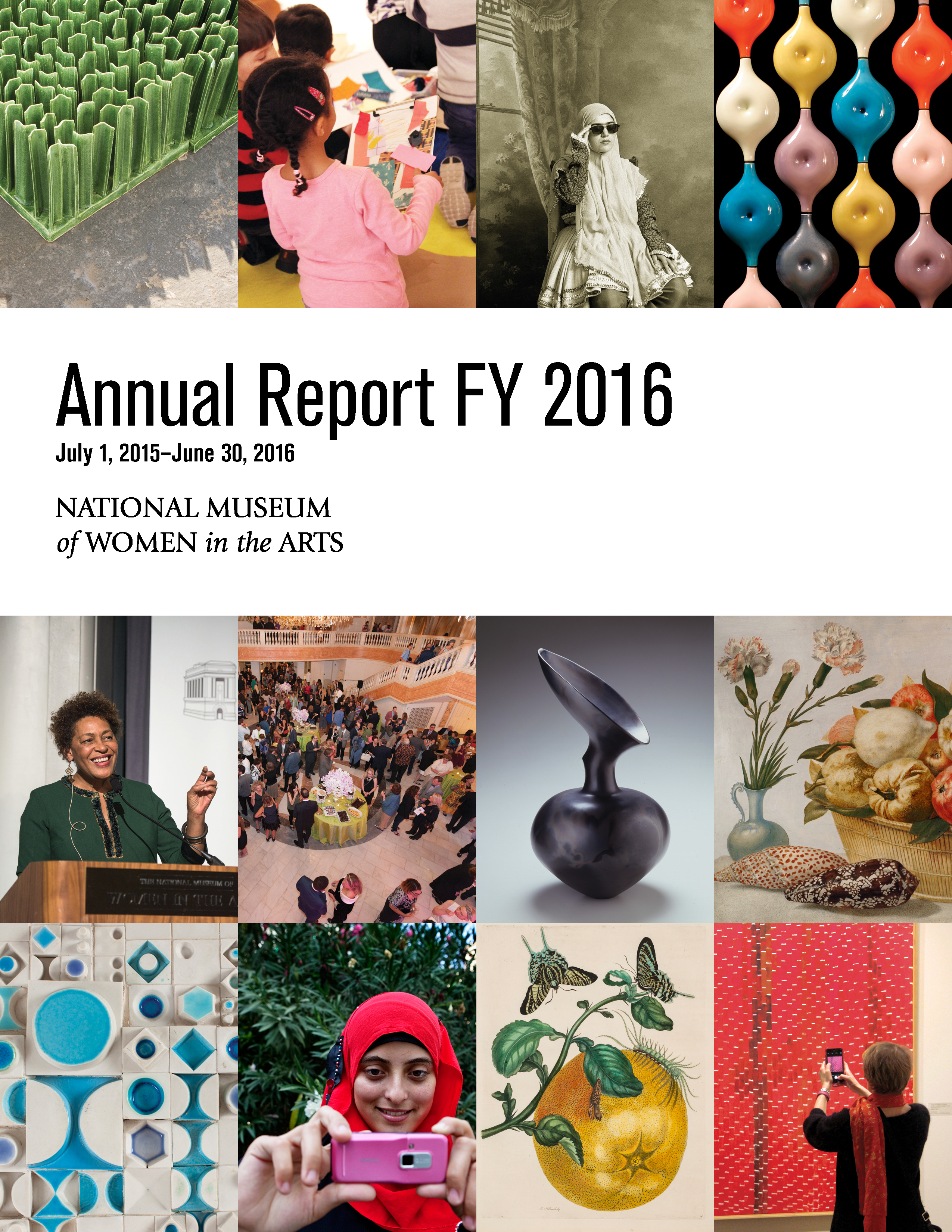 Cover of the 2016 annual report shows 12 tiled images along with the text 'Annual Report FY2016, July 1, 2015–June 30, 2016