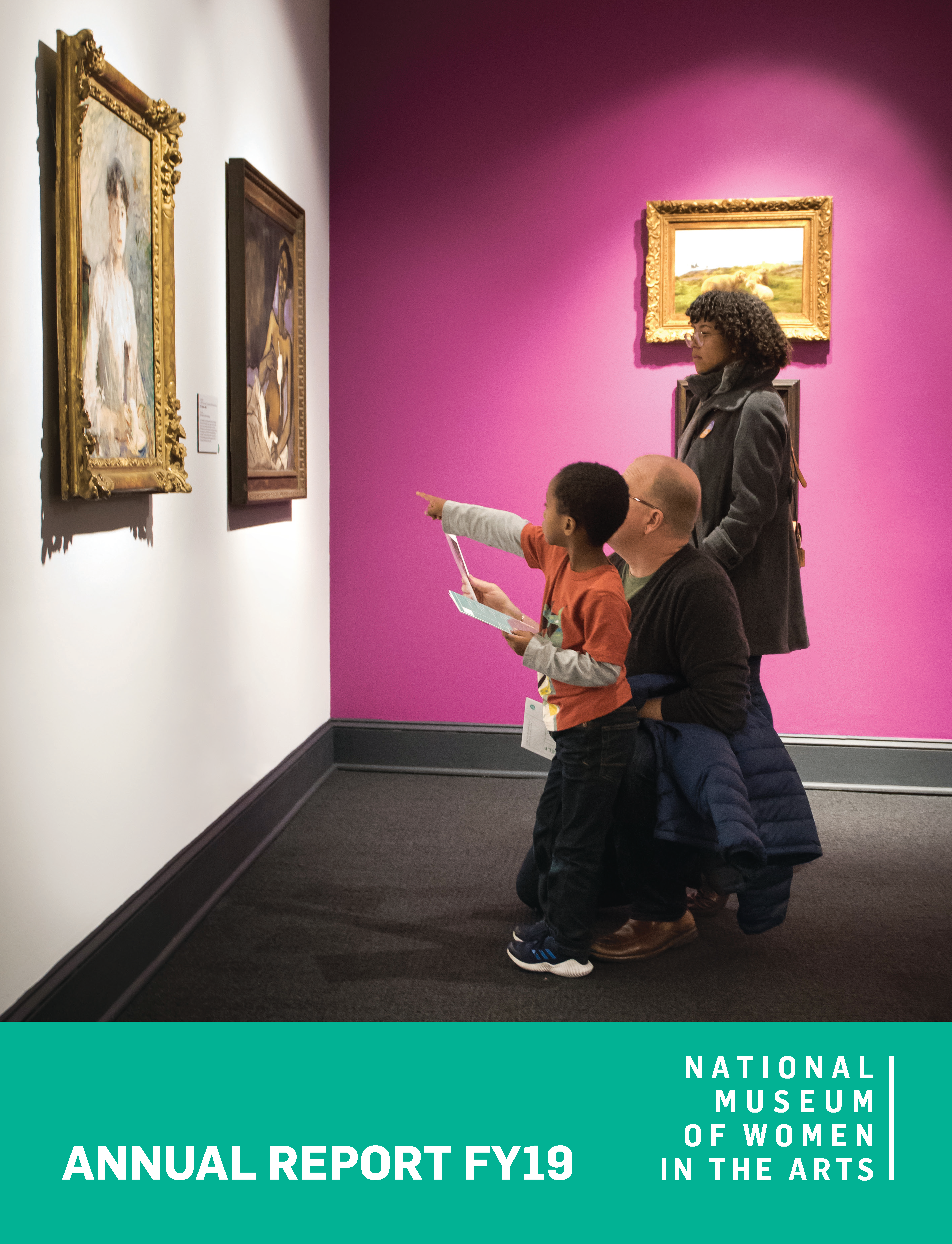 Cover of the 2018 annual report shows an image of a child and two adults in the galleries looking at two painted artworks on the museum wall.