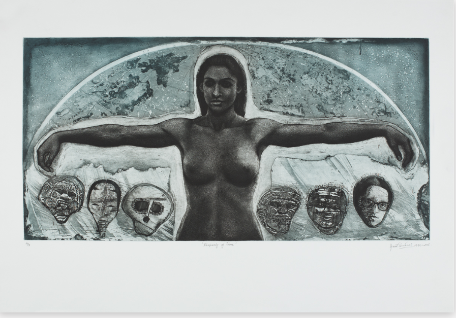 An etching of a topless woman who holds her arms out to the right and left as they hover over mask-like images of male faces. Behind the figure is the top half of the globe.