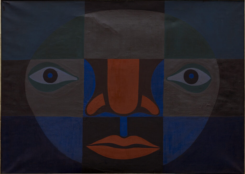 Divided into a grid of nine squares, this modernist painting depicts a stylized face with the eyes, nose, and mouth each consigned to separate squares. Solid-colored shapes in grays, muted blues, dark orange, black, and white are arranged to create the features of the face.