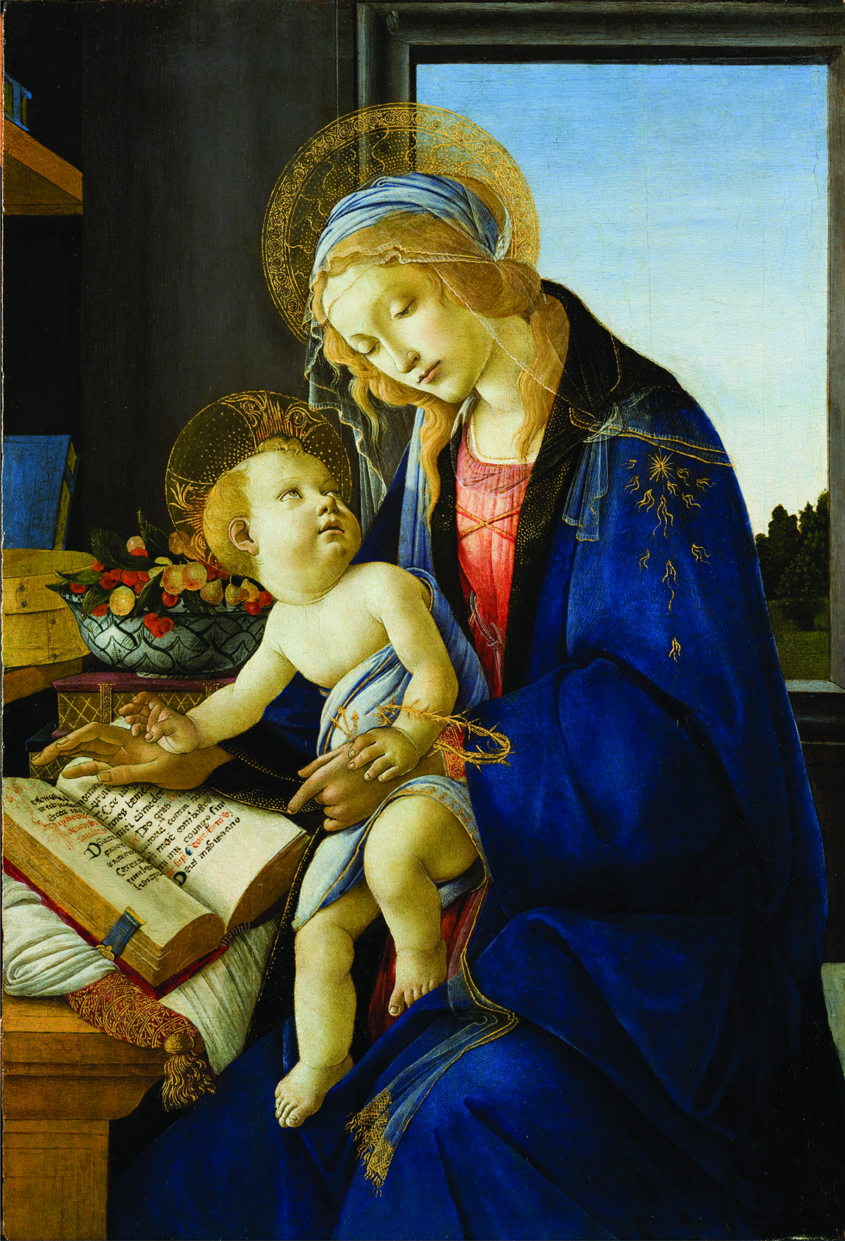 Delicate portrait of Mary and baby Jesus in early Renaissance style. The image shows a light-skinned woman with flowing blonde hair, her face surrounded by gossamer veils and an elaborate golden halo, gazing downward.