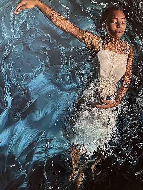 A hyper-realist painting of a young African American girl, in a white summer dress, floating on her back in a pool with her arms in a dancer pose and her eyes closed.