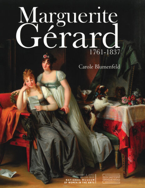 Book cover features a painting of an indoor scene of two women with light skin sitting in an indoor setting. The book's title