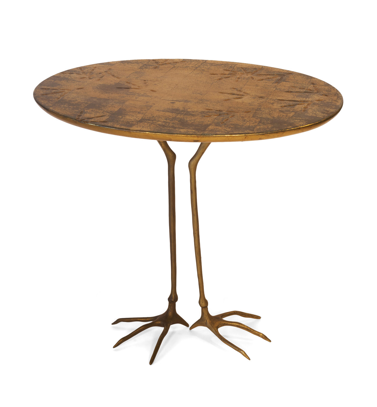 Surrealist sculpture and functional occasional table is shown from above at a high angle; the work features realistic cast bronze crane legs holding a round wooden, gold-plated tabletop.