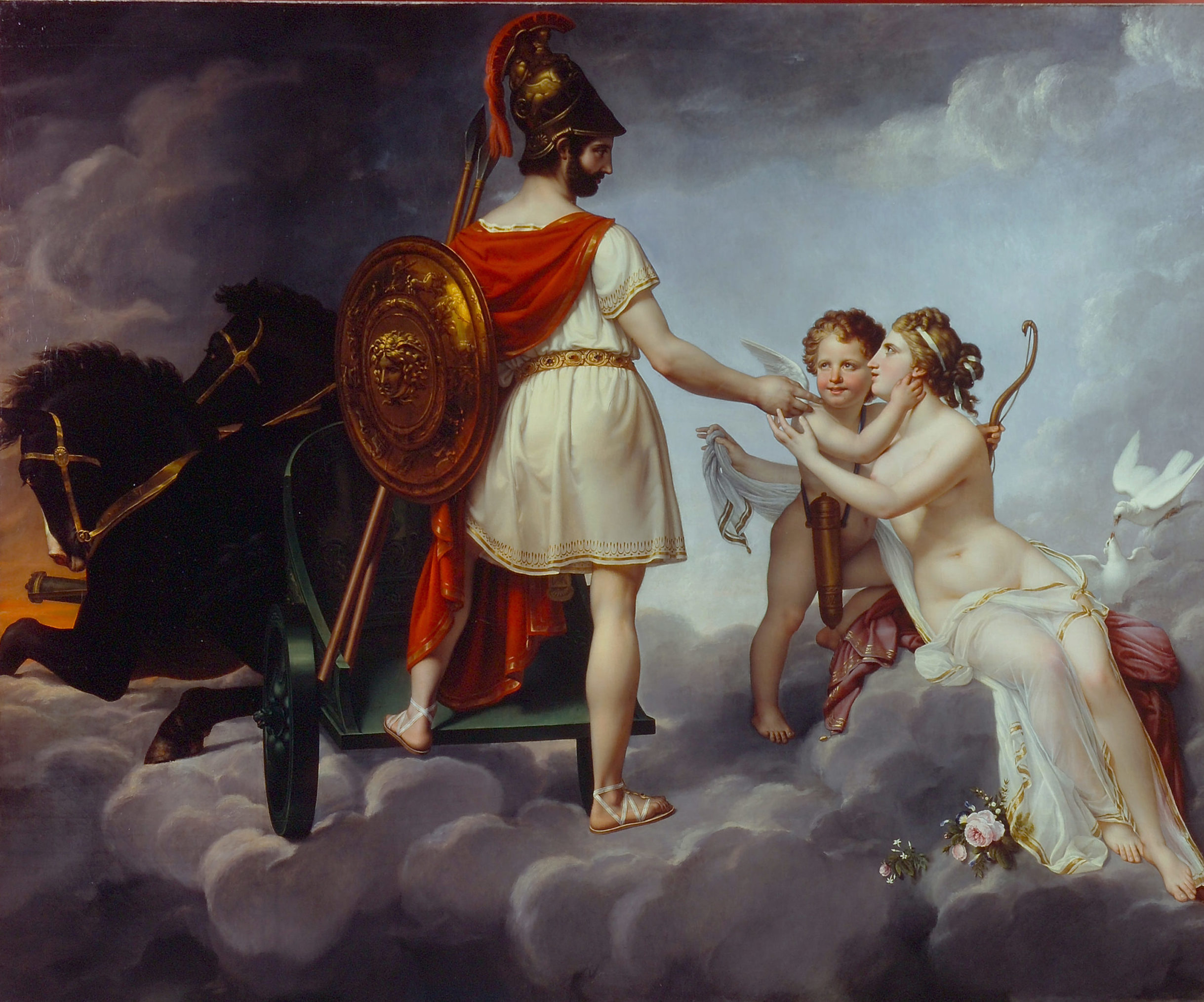 Oil painting scene shows a man in a white Grecian robe with red cape, bronze shield, and bronze helmet standing among clouds with two black horses connected to a chariot in front of him. He reaches out to a pale-skinned nude woman and cherub with doves behind them.