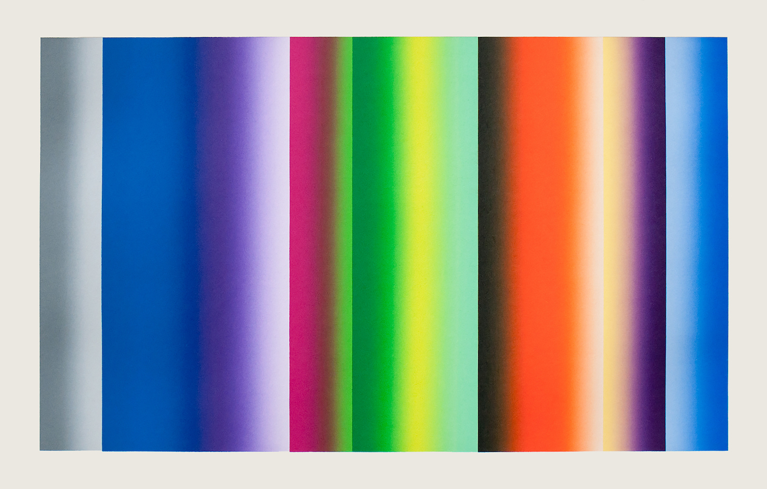 Vertical stripes of color in gray, blue, purple, pink green, yellow, and orange blend into one another or fade to white to form multiple gradient effects.