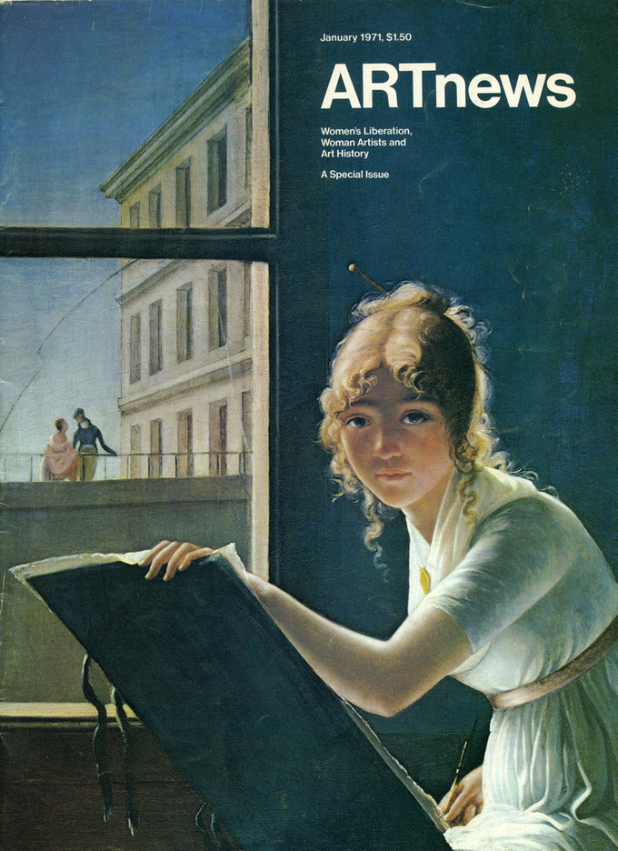A magazine cover shows a painting of a young woman with light skin in a white dress, looking straight ahead at the viewer, against a dark green background. Holding an easel and a paintbrush, she sits in front of an open window, through which two figures and a large building are visible.