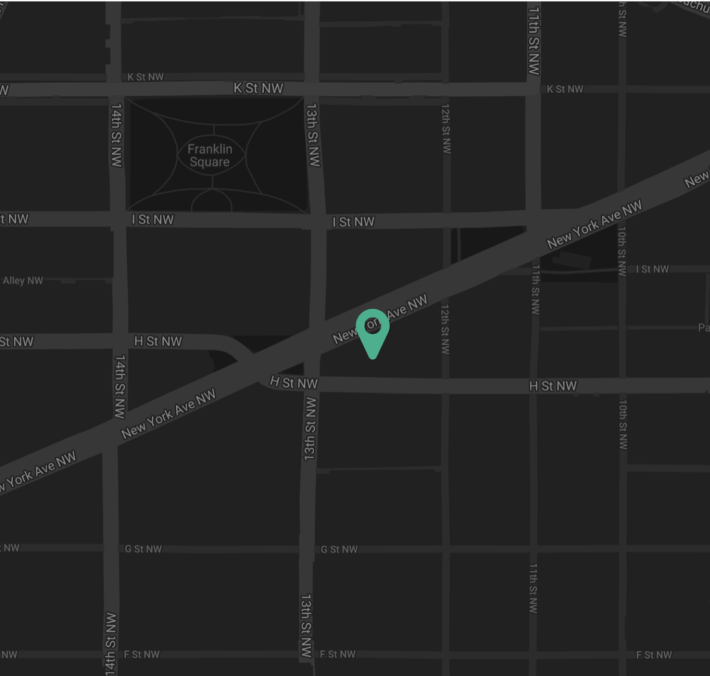 Link to google maps. Black and gray street map of the streets surrounding the museum in Washington D.C. A green icon indicates the location of the museum.