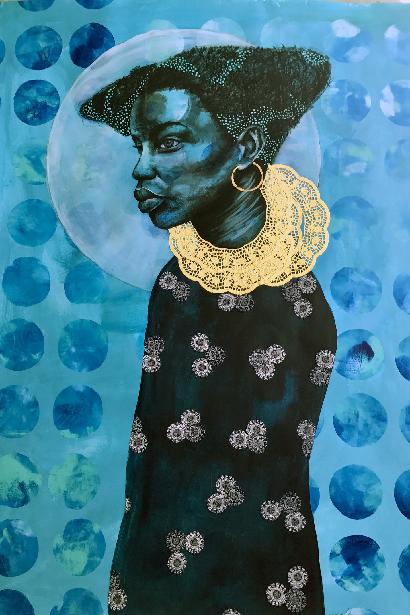 Portrait of a dark-skinned person in profile with bushy, short, dark hair; gold hoop earrings; and a delicate, gold, lace-like collar of ruffles. The portrait is painted on a blue background with circles fading in and out, and a white, moon-like halo around the person's head. They wear a long, dark top with a pattern of trios of white, small, patterned circles.