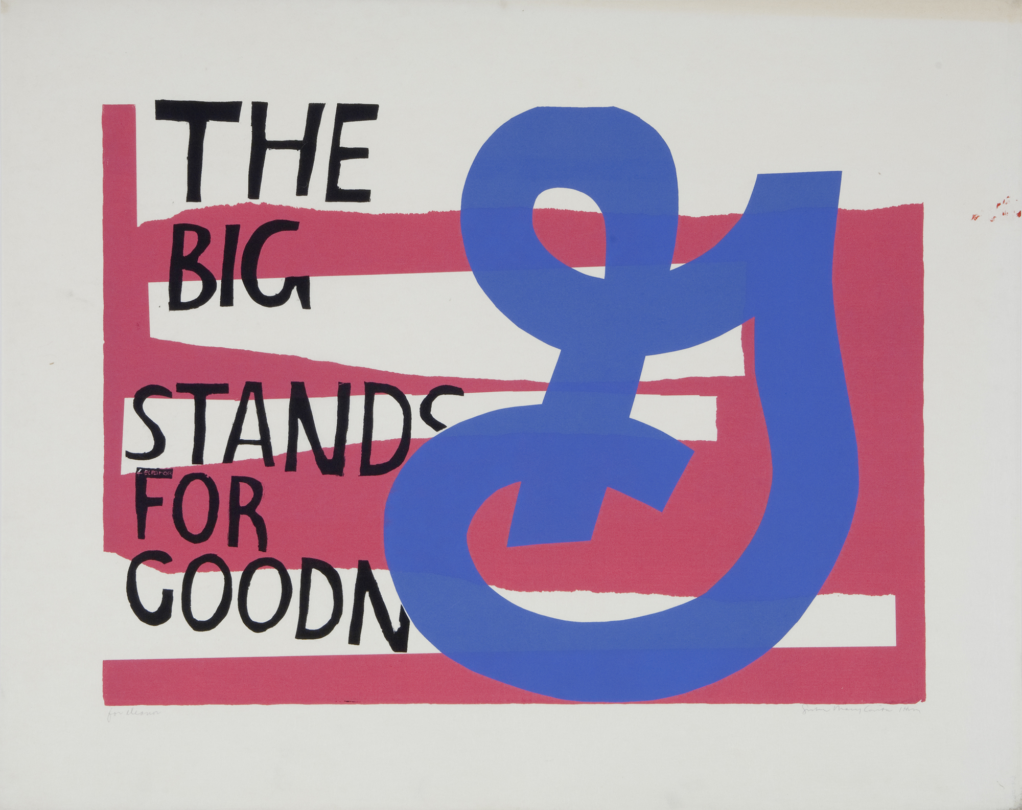 Bold graphic composition of red, white, blue, and black. A big blue G sits next to black text that reads, The Big G stands for Goodn.