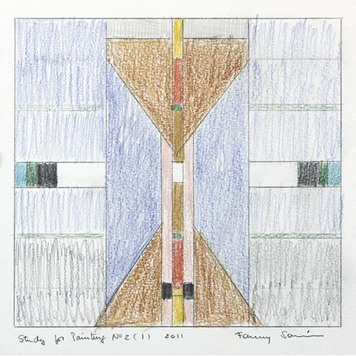 Color pencil sketch of an abstract geometric design divided into three vertical sections. At the center, on a blue field, there are two brown triangles in an hourglass formation, bisected vertically by a colorful stripe. On either side are symmetrical designs of rectangles in varying shades of blue.