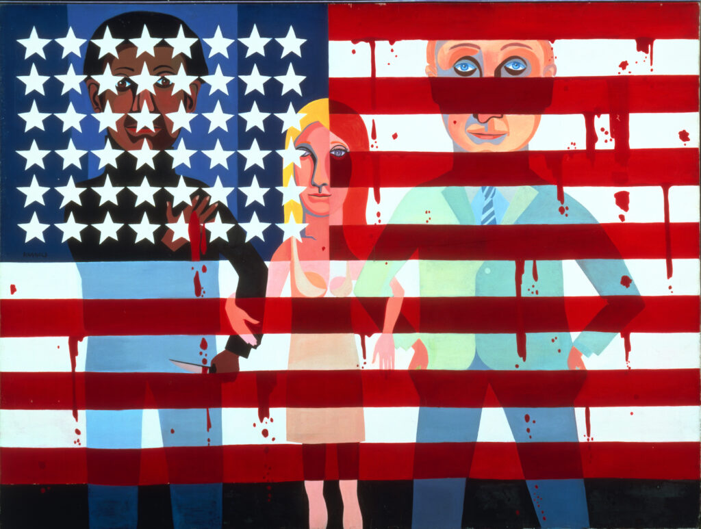 Semi-cubist painting of a black man, white woman, and white man linking arms, superimposed with the American flag. The black man, partially obscured by the stars on the flag, clutches his bleeding chest with one hand and holds a knife in the other. The red stripes of the flag drip as if bleeding.