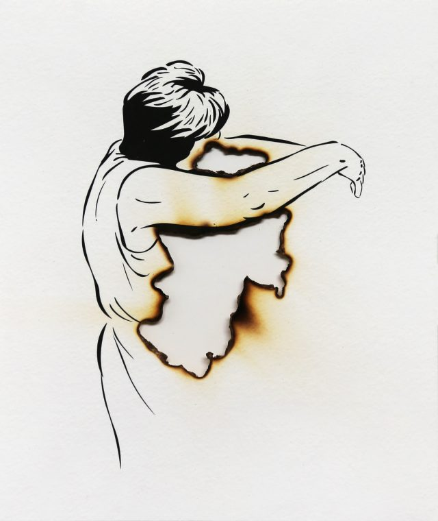 A thin ink drawing of a woman in short black hair and sleeveless dress seen from the side with her face hidden. She extends her arms with a void space marked by burned edges to indicate the absence of the person or object that she embraces.