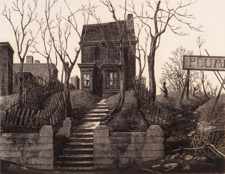 Tiny print of a foreboding, dilapidated Victorian house on a hill. Between two water-stained retaining walls, a long series of uneven steps leads up to the house, which is flanked by barren trees and broken picket fencing.