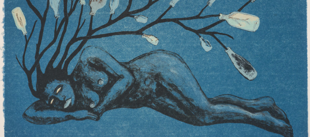 Lithograph print on a blue background portrays a nude woman laying horizontally across the length of the paper. In place of hair, a bottle tree appears to sprout from the figure's head.