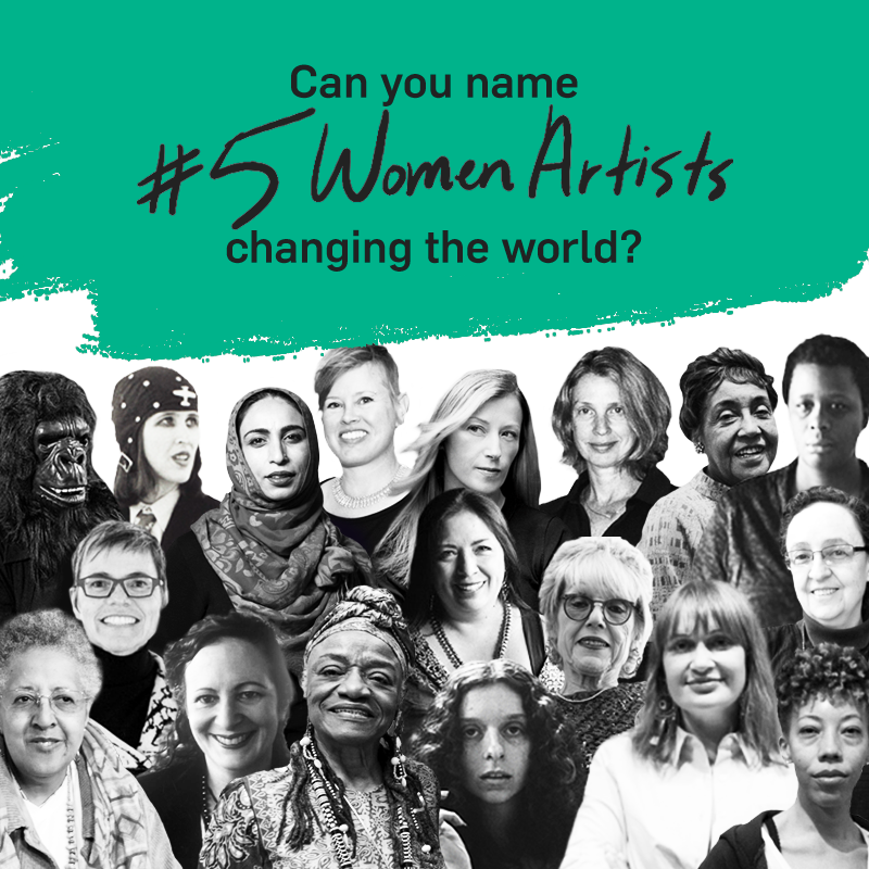 An image of various women artists featured underneath a teal banner for the #5WomenArtists social media campaign.