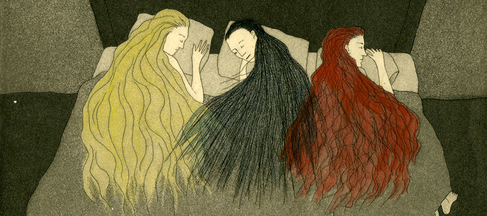 Illustrated print from a book shows three light-skinned women, lying side by side, asleep in a bed. The print is all in shades of grey except for the long hair of the women, depicted in yellow, red, and black, flowing atop the blanket under which they sleep.