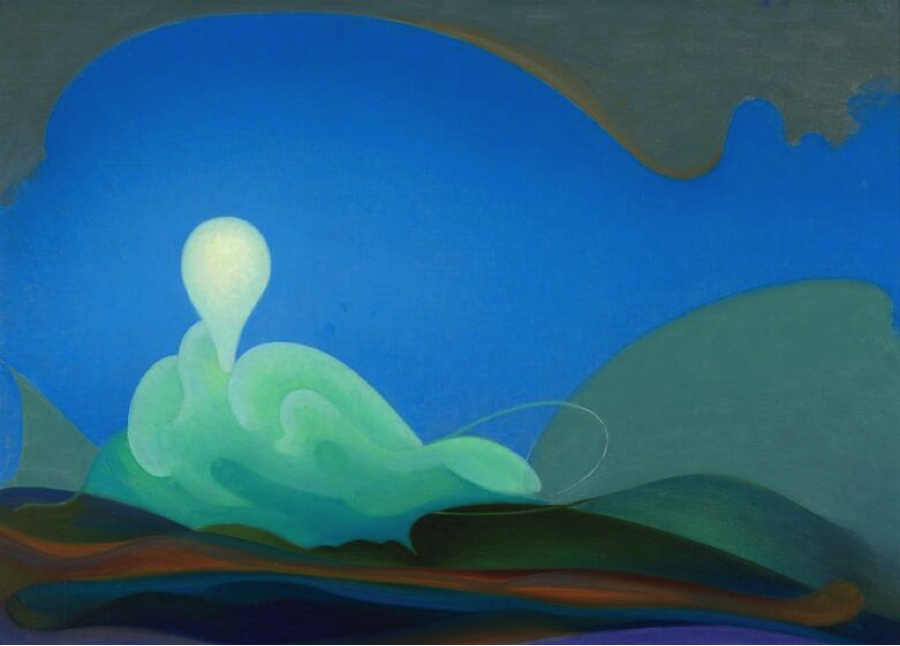 An abstract painting in blues and greens featuring soft curves and oblong shapes.