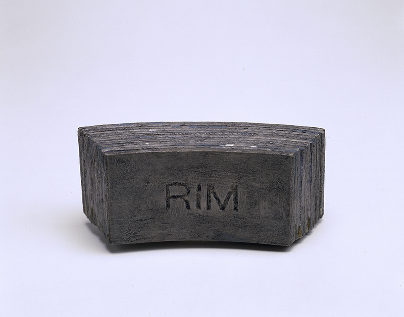 """A closed view of Susan Goethel Campbell's artists' book """"RIM,"""" which resembles a mental block."""