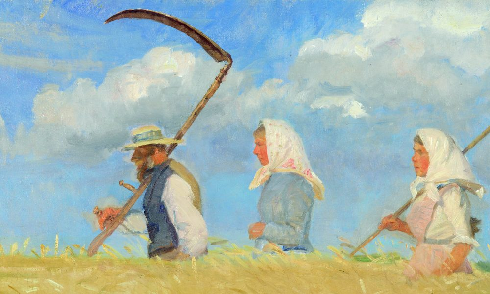 Expressionist painting of a man and two women wearing white headscarves walking through a waist-high wheat field. The man and the woman following in the back carry scythes to cut the wheat.