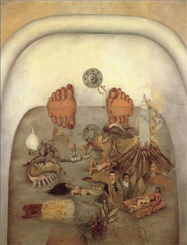A painting in neutral, earthy colors of two feet with red painted toenails pressed up against the top wall of a bathtub. In the bath water, a collage of surreal images float, including a naked woman half submurged, a city tower emerging from an erupting volcano, a bird and tree, rooms from a plant, and more.