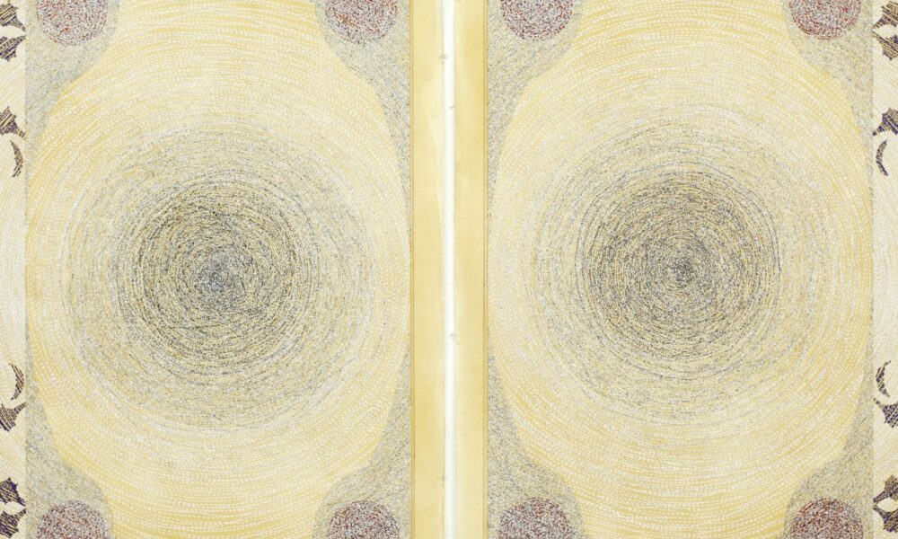 Diptych drawing of a page with arabesque scrolls and concentric circles.