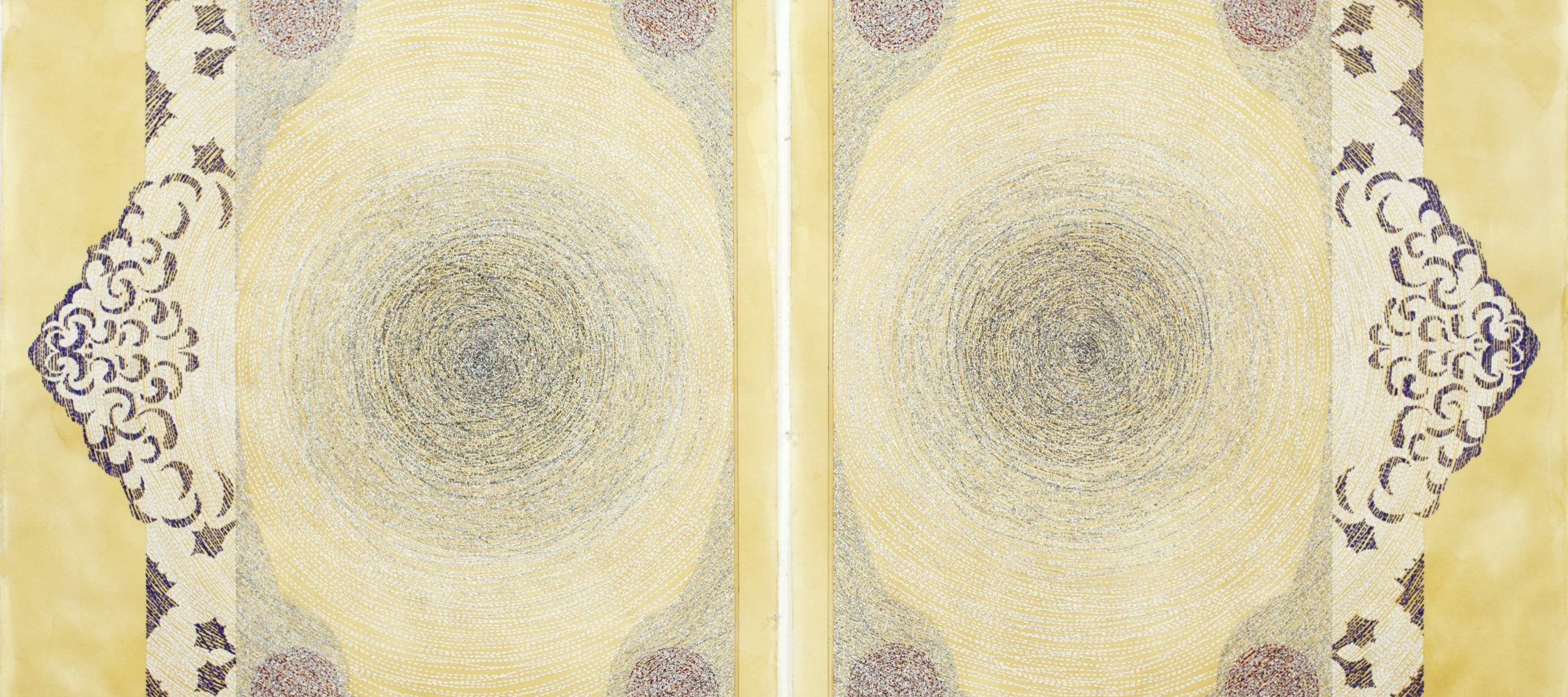 Diptych drawing of two panels with spiraling scraps of text that mirror each other against a yellow mottled backdrop. Concentric circles and arabesque shapes adorn diptych.