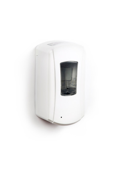 A white automatic hand sanitizer dispenser hangs on a white wall. The photograph is brightly lit, and the rectangular dispenser barely casts a shadow on the wall, lending the image a ghostly, sterile atmosphere.