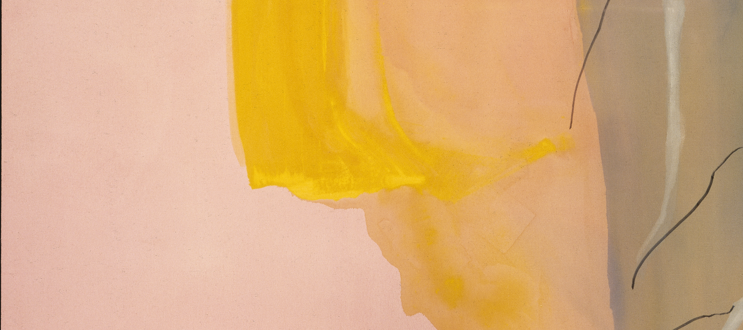 Abstract painting with large, gestural swaths of pink, yellow, peach, and gray. Scatered black lines and white brushstrokes at right.
