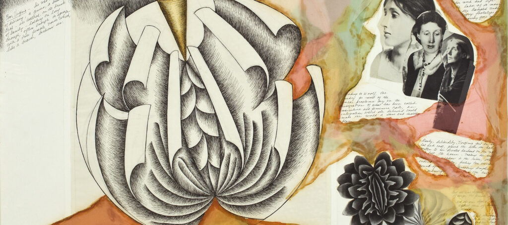 Mixed media work on paper shows a large ink drawing of a sculptural plate with page-like leaves unfurling in a round, flower-like pattern. Smaller plate deisgns, collaged photographs of the author, and her written words are surrounded by pink, orange, yellow and green watercolor.