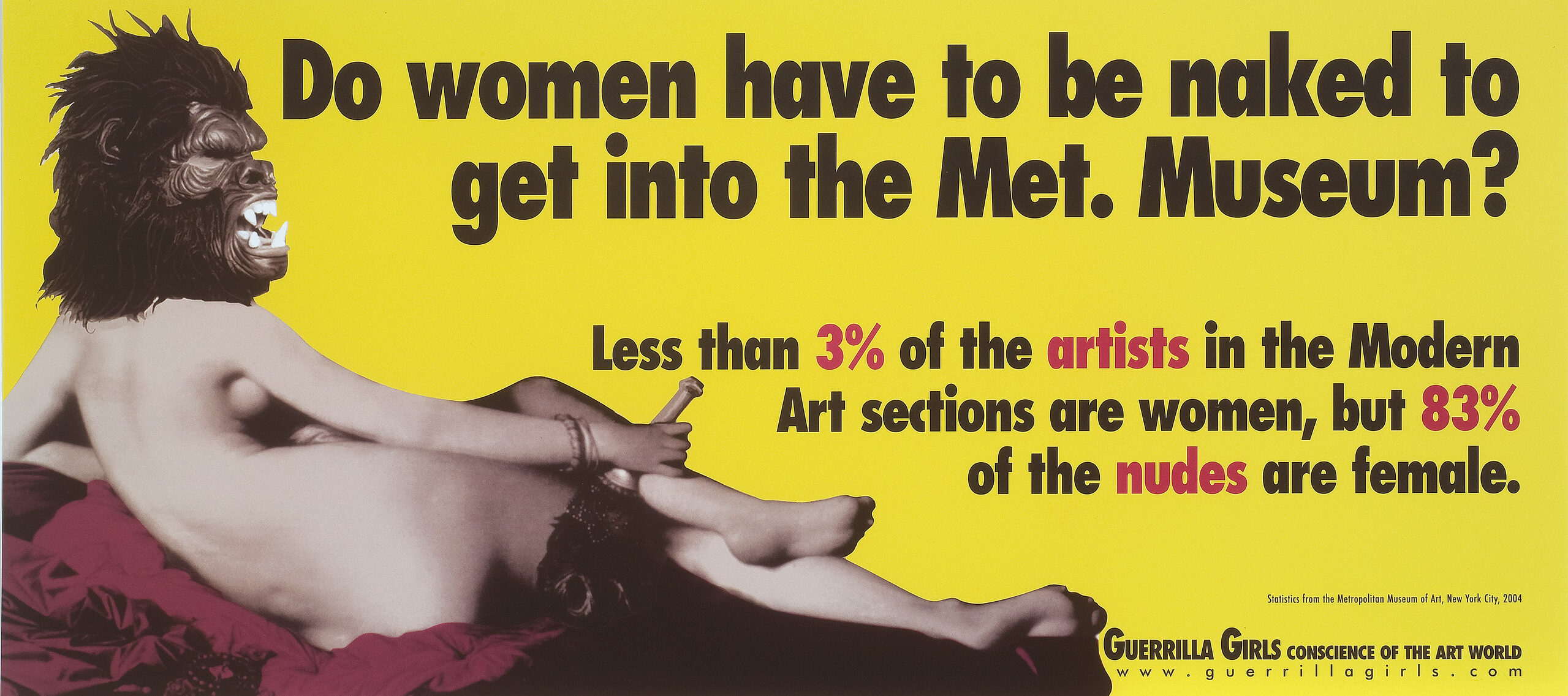 Reclining light skinned nude woman seen from behind wearing a gorilla mask on bright yellow background. Large black text reads,