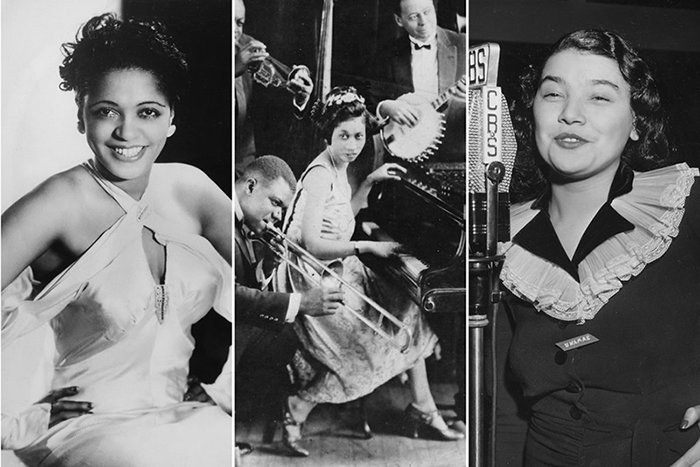 Three black and white portraits of African American women jazz musicians. On the left, a woman is seated with her hands on her hips, wears a white halter top dress, and smiles at the camera. In the middle, a woman plays the piano surrounded by a jazz band. On the right, a woman sings into a recording studio microphone.